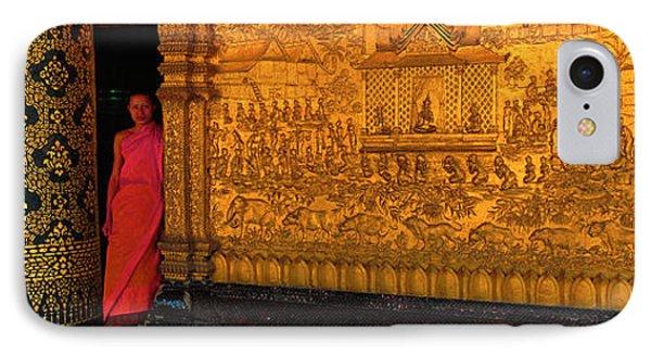 Monk In Prayer Hall At Wat Mai Buddhist IPhone Case