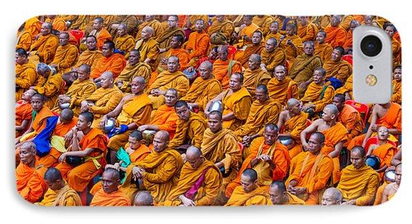 Monk Mass Alms Giving In Bangkok Phone Case by Fototrav Print
