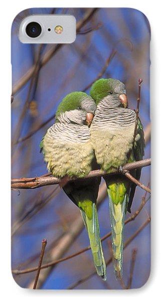 Monk Parakeets IPhone Case by Paul J. Fusco