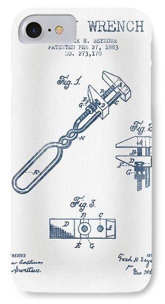 Monkey Wrench Patent Drawing From 1883- Blue Ink IPhone Case by Aged Pixel