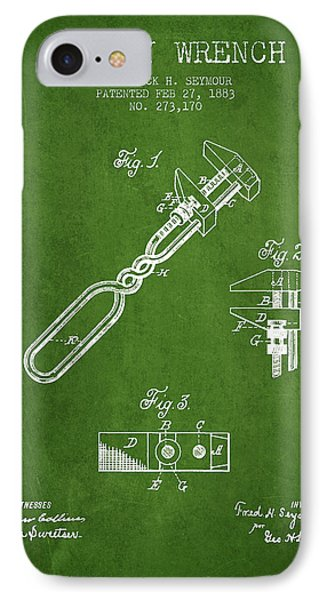 Monkey Wrench Patent Drawing From 1883 - Green IPhone Case by Aged Pixel