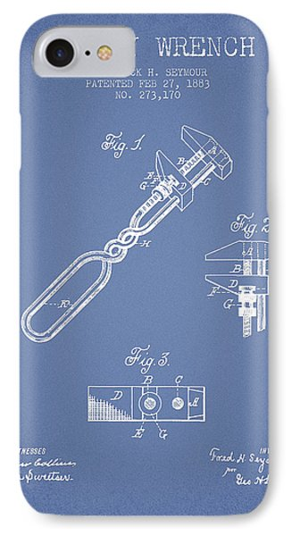 Monkey Wrench Patent Drawing From 1883 - Light Blue IPhone Case by Aged Pixel