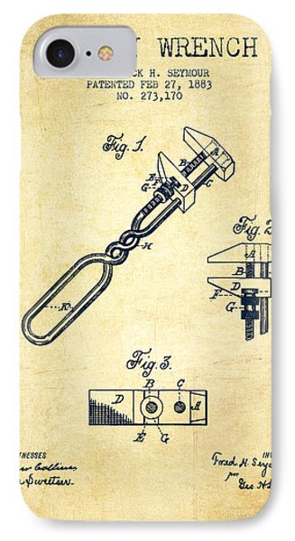 Monkey Wrench Patent Drawing From 1883 - Vintage IPhone Case by Aged Pixel