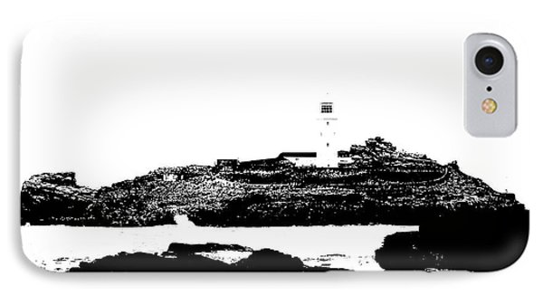 Monochromatic Godrevy Island And Lighthouse Phone Case by Terri Waters