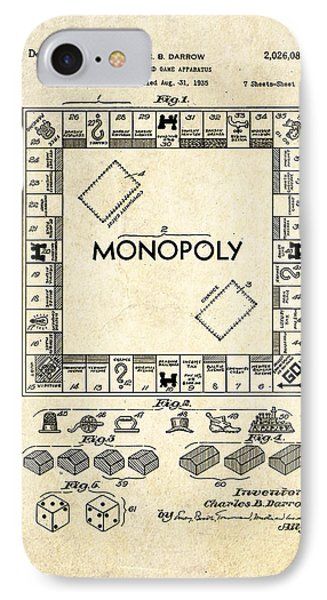 Monopoly Board Game Patent Art IPhone Case by Gary Bodnar