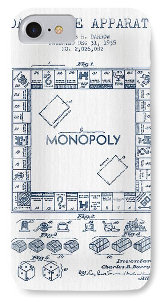 Monopoly Patent From 1935 - Blue Ink IPhone Case by Aged Pixel