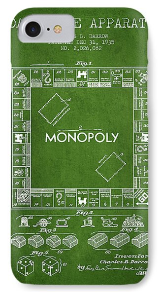 Monopoly Patent From 1935 - Green IPhone Case by Aged Pixel