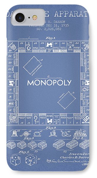 Monopoly Patent From 1935 - Light Blue IPhone Case by Aged Pixel