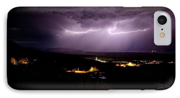 IPhone Case featuring the photograph Monsoon Horizontal Lightning by Ron Chilston
