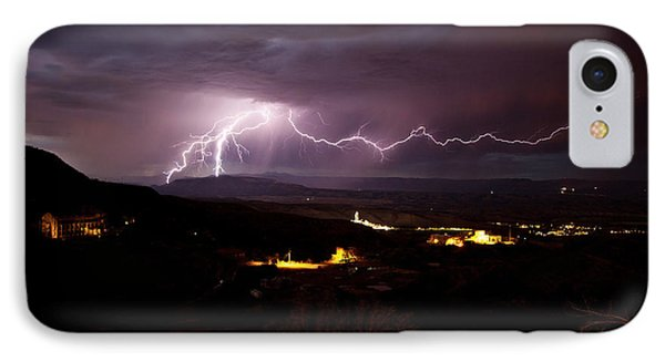 IPhone Case featuring the photograph Monsoon Lightning In Jerome Az by Ron Chilston