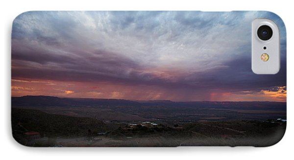 IPhone Case featuring the photograph Monsoon Sunset With Vertical Rainbow by Ron Chilston