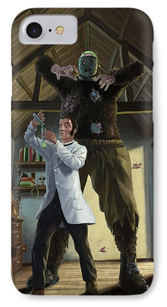 Monster In Victorian Science Laboratory Phone Case by Martin Davey