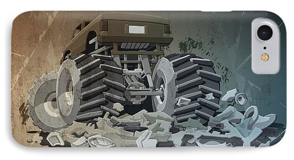 Monster Truck Grunge IPhone Case by Frank Ramspott