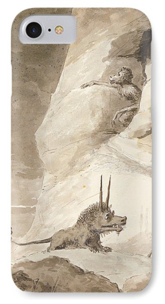Monsters Chasing A Man IPhone Case by George Dance