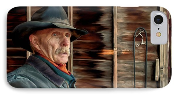 IPhone Case featuring the painting Montana Cowboy by Michael Pickett