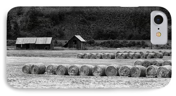 IPhone Case featuring the photograph Montana Harvest B/w by Vinnie Oakes