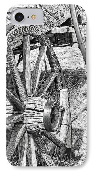 Montana Old Wagon Wheels Monochrome Phone Case by Jennie Marie Schell