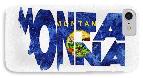 Montana Typographic Map Flag IPhone Case