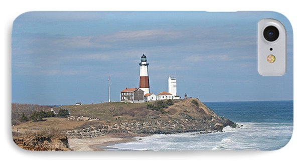 Montauk Lighthouse View From Camp Hero IPhone Case by Karen Silvestri