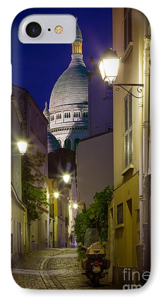 Montmartre Street And Sacre Coeur Phone Case by Inge Johnsson