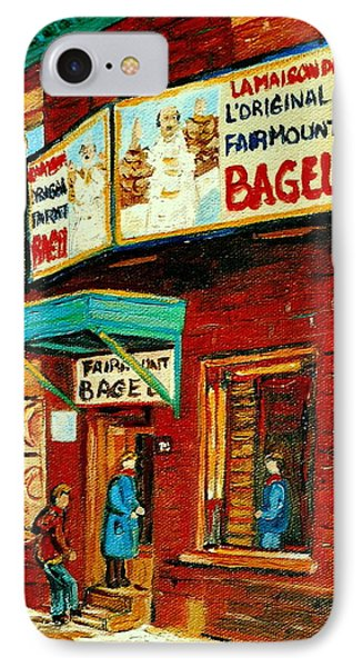 Montreal Bagel Factory Famous Brick Building On Fairmount Street Vintage Paintings Of Montreal  IPhone Case by Carole Spandau