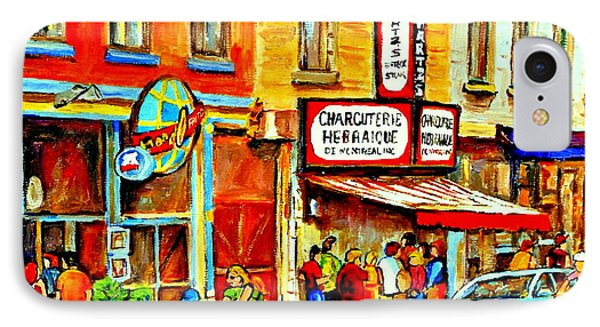 Montreal Bike Path Reserved Lane Cyclists Drive By Schwartzs Deli  Line-up Montreal Paintings Phone Case by Carole Spandau