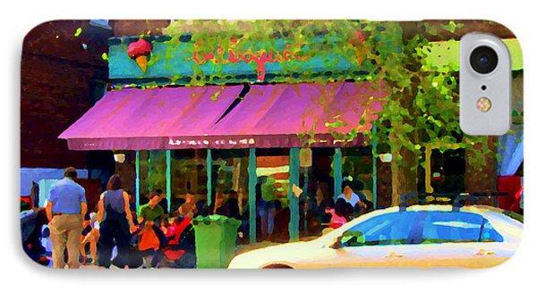 Montreal Cafe Scenes Beautiful Bilboquet On Bernard Creme Glacee Summer City Scene Carole Spandau  Phone Case by Carole Spandau