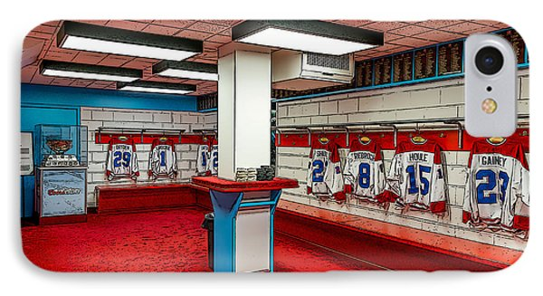 Montreal Canadians Hall Of Fame Locker Room IPhone Case by Boris Mordukhayev