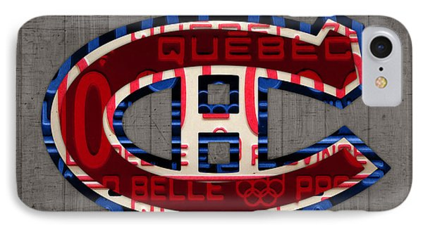 Montreal Canadiens Hockey Team Retro Logo Vintage Recycled Quebec Canada License Plate Art IPhone Case