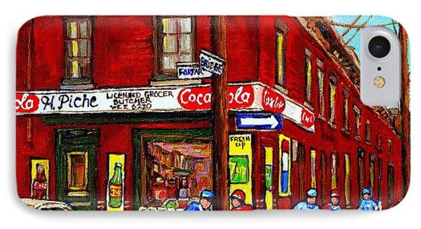 Montreal Depanneur Epicerie Boucherie Coca Cola South West Montreal Winter Pantings Hockey Art  Phone Case by Carole Spandau