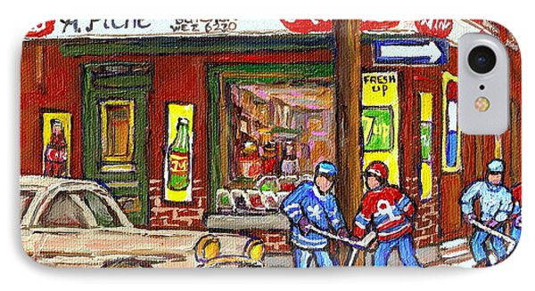 Montreal Hockey Paintings At The Corner Depanneur - Piche's Grocery Goosevillage Psc Griffintown  Phone Case by Carole Spandau