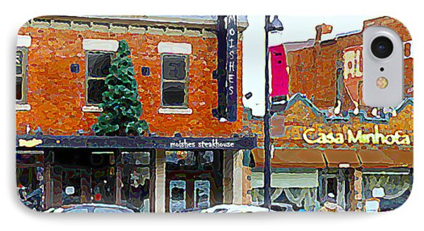 Montreal Memories Moishes Famous Steakhouse Restaurant On The Main Busy Winter Scene Carole Spandau Phone Case by Carole Spandau
