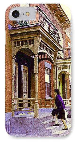 Montreal Memories Pretty Plateau Porches Lady Climbs Front Steps By Bricks Balconies Home Cspandau   Phone Case by Carole Spandau