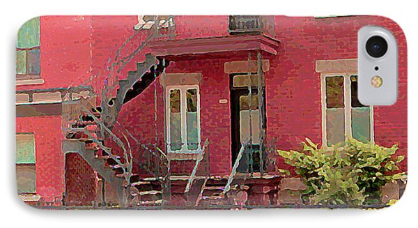 Montreal Memories The Old Neighborhood Timeless Triplex With Spiral Staircase City Scene C Spandau  Phone Case by Carole Spandau