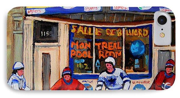 Montreal Pool Room City Scene With Hockey Phone Case by Carole Spandau