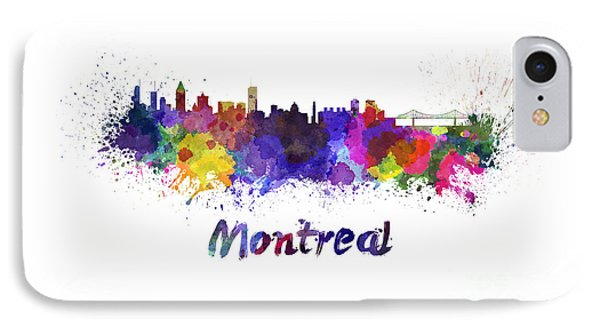 Montreal Skyline In Watercolor IPhone Case by Pablo Romero