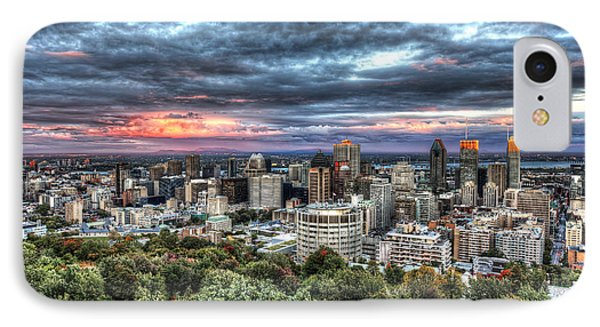 Montreal Skyline Sunset From Mount Royal IPhone Case by Shawn Everhart
