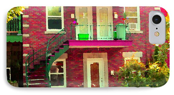 Montreal Stairs Painted Brick House Winding Staircase And Summer Awning City Scenes Carole Spandau Phone Case by Carole Spandau