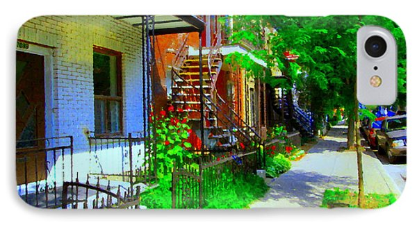 Montreal Stairs Shady Streets Winding Staircases In Balconville Art Of Verdun Scenes Carole Spandau Phone Case by Carole Spandau