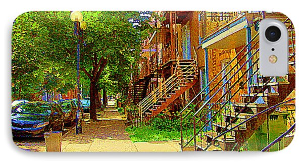 Montreal Stairs Winding Staircases And Sunny Tree Lined Sidewalks Verdun Scenes Carole Spandau  Phone Case by Carole Spandau