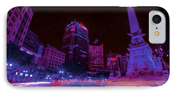 Monument Circle Indianapolis Light Streaks Night IPhone Case by David Haskett