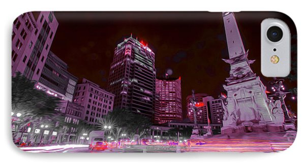 Monument Circle Indianapolis Light Streaks No Yellow IPhone Case by David Haskett