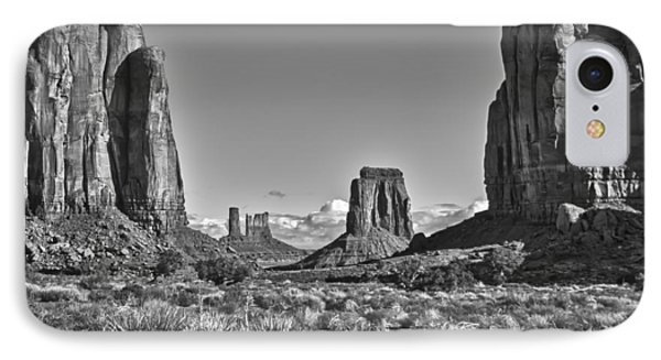 IPhone Case featuring the photograph Monument Valley 8 Bw by Ron White