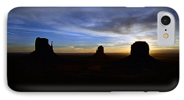 Monument Valley Desert Sunrise And Butte Silhouettes Accented Edges Digital Art IPhone Case by Shawn O'Brien