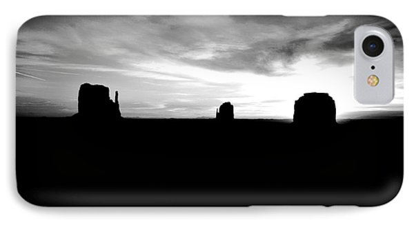 Monument Valley Desert Sunrise And Butte Silhouettes Black And White Conte Crayon Digital Art IPhone Case by Shawn O'Brien