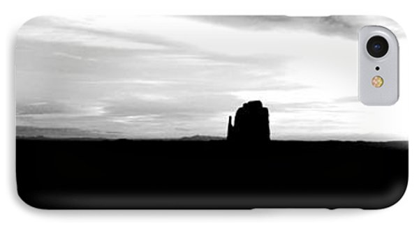 Monument Valley Desert Sunrise And Butte Silhouettes Panoramic Bw Conte Crayon Digital Art IPhone Case by Shawn O'Brien