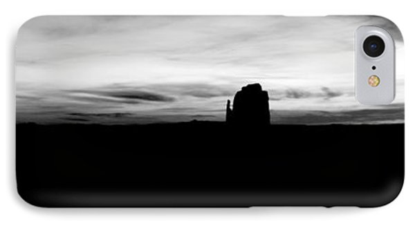 Monument Valley Morning Twilight And Butte Silhouettes Panoramic Bw Conte Crayon Digital Art IPhone Case by Shawn O'Brien