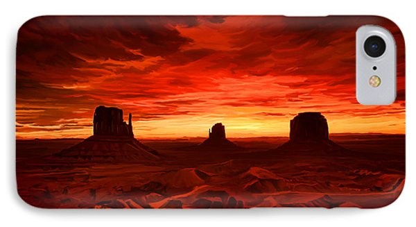 IPhone Case featuring the painting Monument Valley Sunset by Tim Gilliland