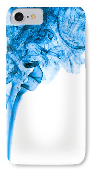 Abstract Vertical Deep Blue Mood Colored Smoke Art 03 IPhone Case by Alexandra K