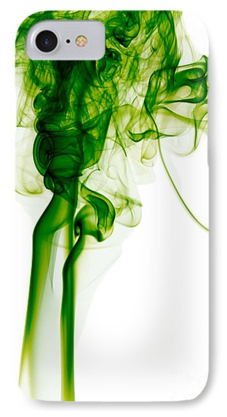 Abstract Vertical Green Mood Colored Smoke Wall Art 03 IPhone Case by Alexandra K